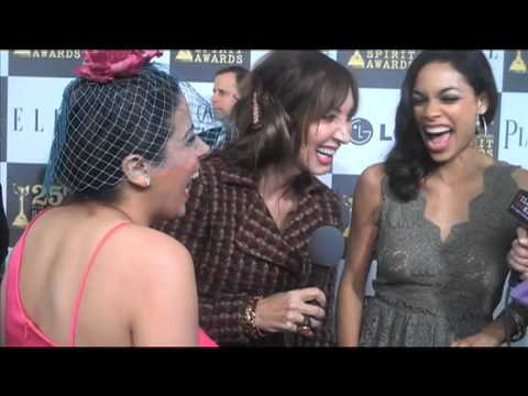 Sexy Rosario Dawson touching La Coacha at 2010 Spirit Awards