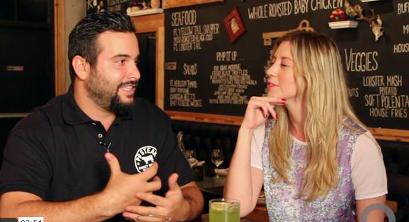Chef Jose Mendin of PB Steak  chats with Lauren Bernat of Chat Chow