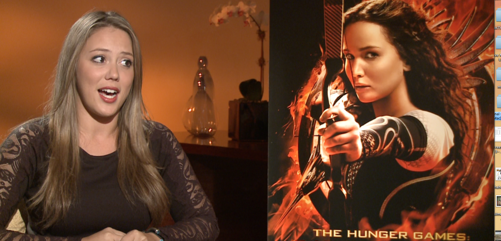 Mel chats with the new additions to the Hunger Games Catching Fire.