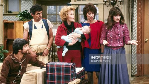 LOS ANGELES - JANUARY 1: ONE DAY AT A TIME Shown here, from left, Michael Lembeck as Max Horvath, Pat Harrington as Dwayne Schneider, Nanette Fabray as Grandma Katherine Romano with baby, Mackenzie Phillips as Julie Cooper Horvath, Valerie Bertinelli as Barbara Cooper Royer.  (Photo by CBS via Getty Images) *** Local Caption *** Valerie Bertinelli;Mackenzie Phillips;Nanette Fabray
